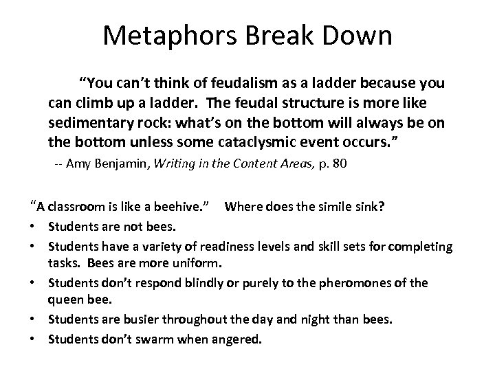 """Metaphors Break Down """"You can't think of feudalism as a ladder because you can"""