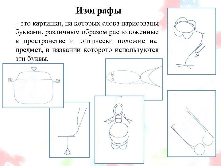 Изографы – это картинки, на которых слова нарисованы буквами, различным образом расположенные в пространстве