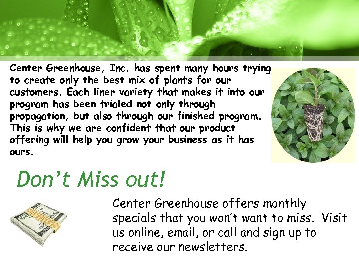Center Greenhouse, Inc. has spent many hours trying to create only the best mix
