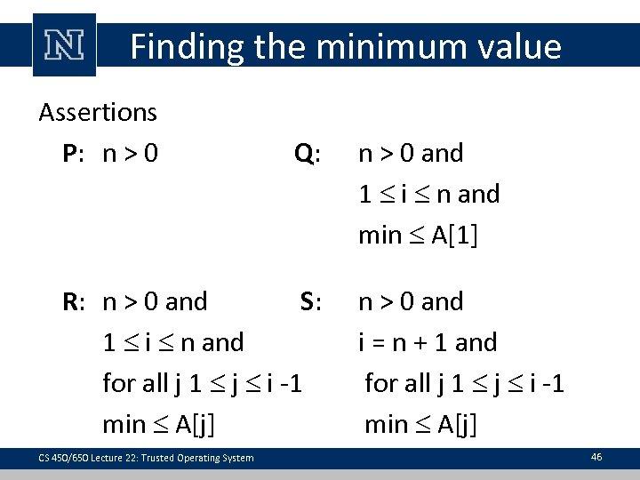 Finding the minimum value Assertions P: n > 0 Q: R: n > 0