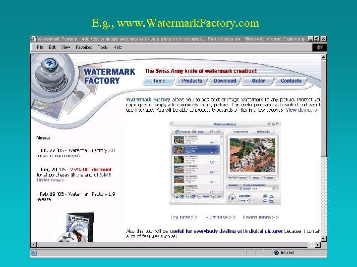 E. g. , www. Watermark. Factory. com
