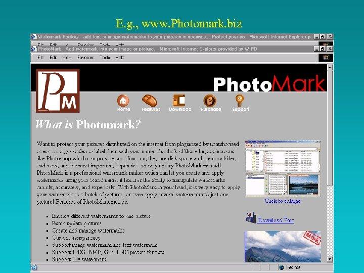 E. g. , www. Photomark. biz