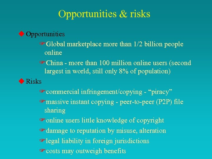 Opportunities & risks u Opportunities FGlobal marketplace more than 1/2 billion people online FChina
