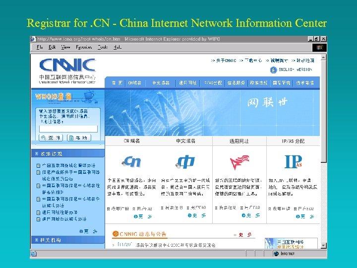 Registrar for. CN - China Internet Network Information Center