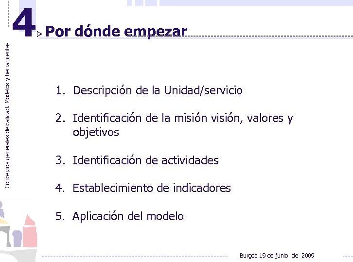 Conceptos generales de calidad. Modelos y herramientas 4 Por dónde empezar 1. Descripción de