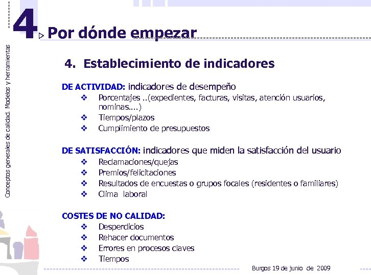 Conceptos generales de calidad. Modelos y herramientas 4 Por dónde empezar 4. Establecimiento de