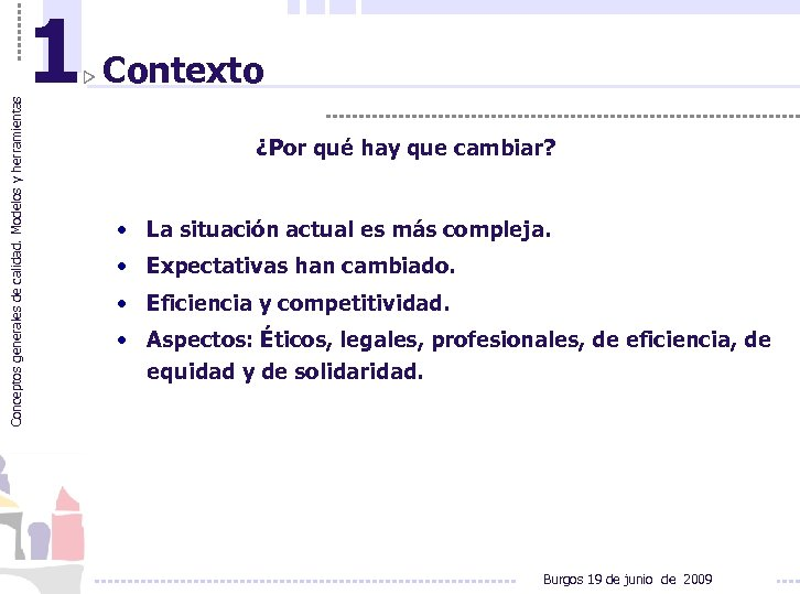 Conceptos generales de calidad. Modelos y herramientas 1 Contexto ¿Por qué hay que cambiar?
