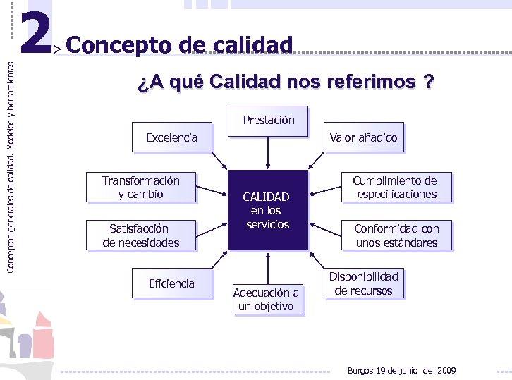 Conceptos generales de calidad. Modelos y herramientas 2 Concepto de calidad ¿A qué Calidad