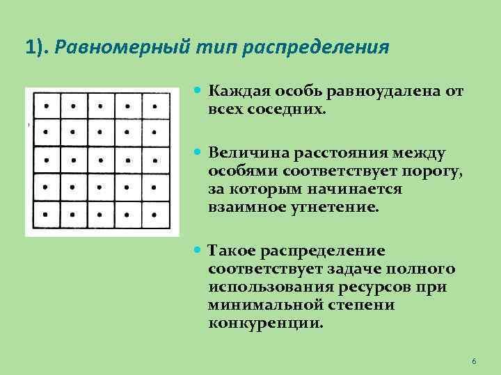 1). Равномерный тип распределения Каждая особь равноудалена от всех соседних. Величина расстояния между особями