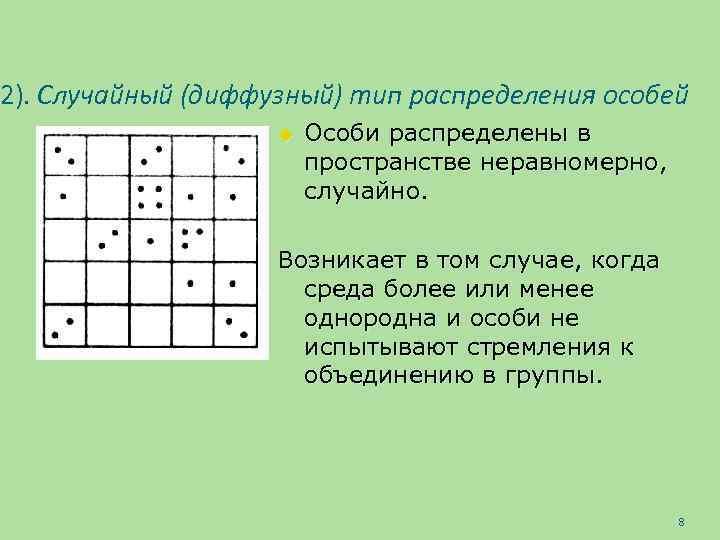 2). Случайный (диффузный) тип распределения особей u Особи распределены в пространстве неравномерно, случайно. Возникает