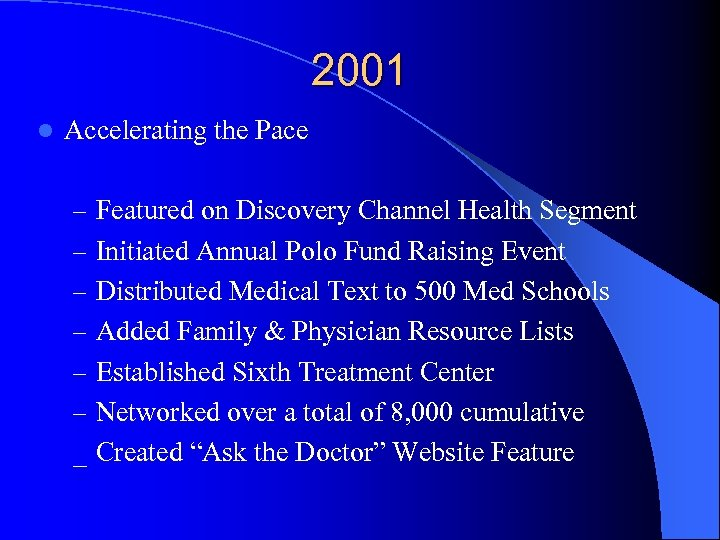 2001 l Accelerating the Pace – Featured on Discovery Channel Health Segment – Initiated