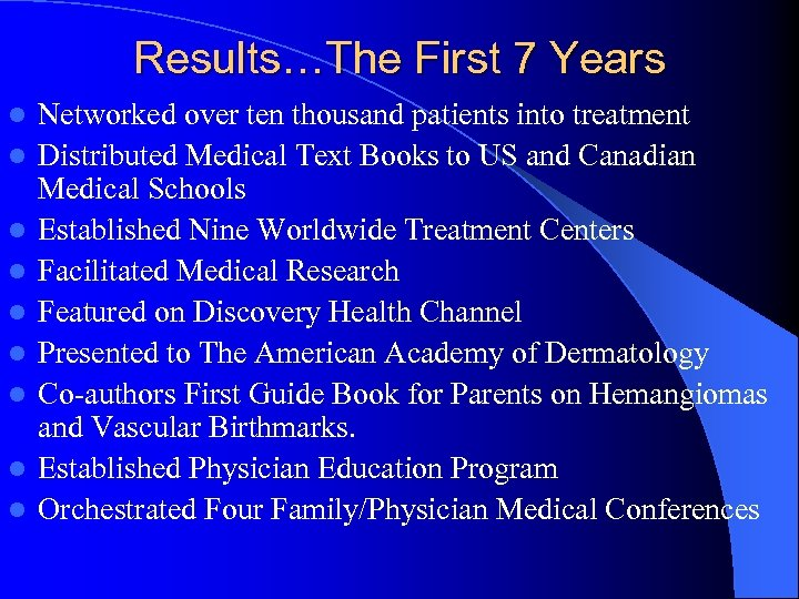 Results…The First 7 Years l l l l l Networked over ten thousand patients