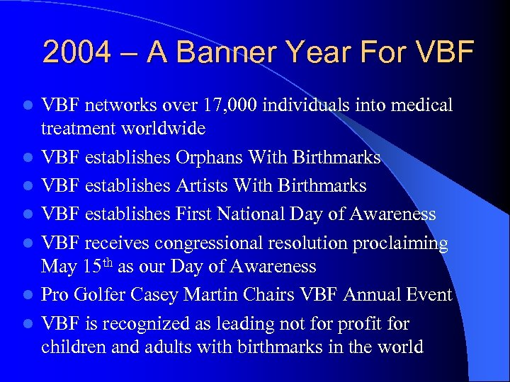 2004 – A Banner Year For VBF l l l l VBF networks over