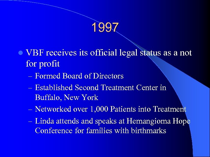 1997 l VBF receives its official legal status as a not for profit –