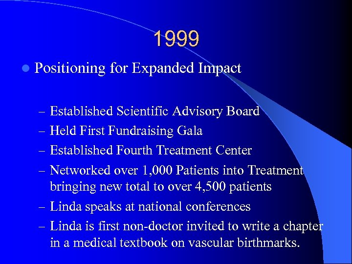 1999 l Positioning for Expanded Impact – Established Scientific Advisory Board – Held First