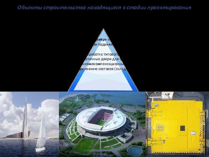 Объекты строительства находящиеся в стадии проектирования 1. Стадион «Зенит Арена» разработка конструкции ворот для