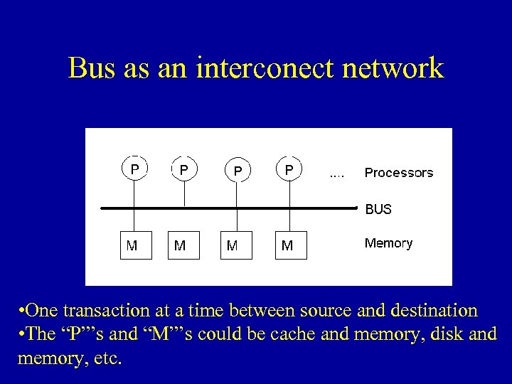 Bus as an interconect network • One transaction at a time between source and