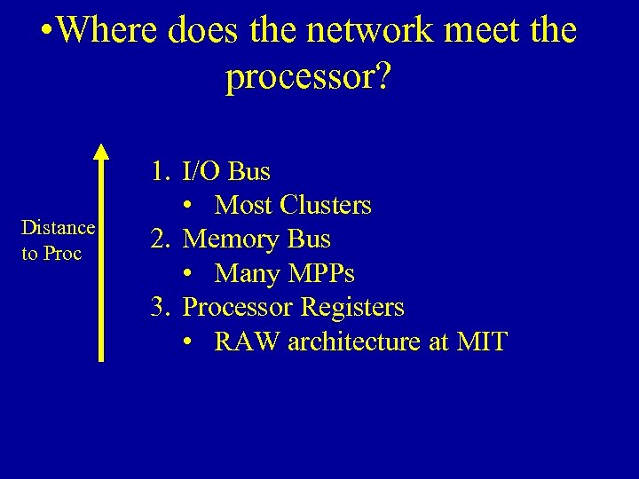 • Where does the network meet the processor? Distance to Proc 1. I/O
