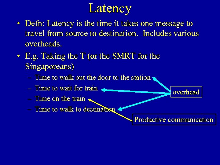 Latency • Defn: Latency is the time it takes one message to travel from
