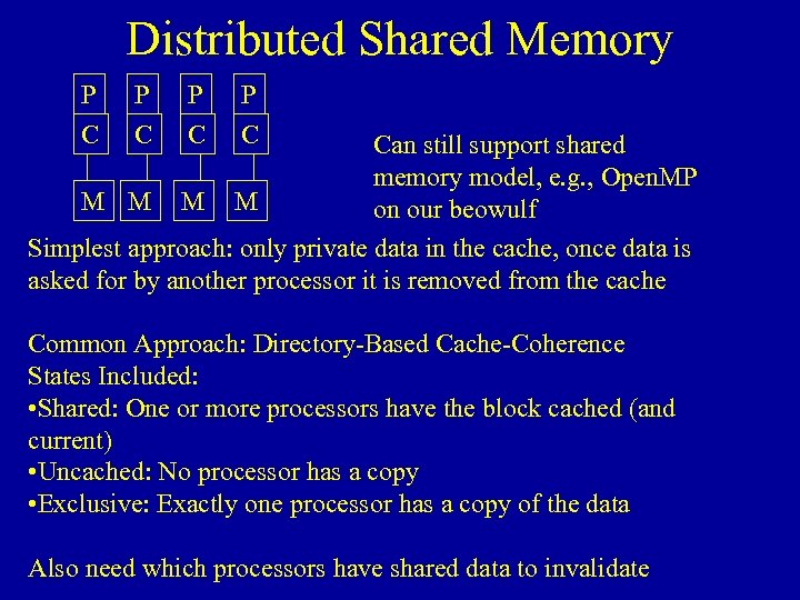 Distributed Shared Memory P C P C Can still support shared memory model, e.