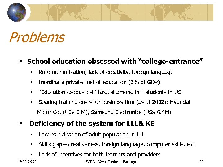 """Problems § School education obsessed with """"college-entrance"""" § Rote memorization, lack of creativity, foreign"""