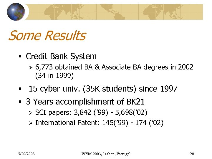 Some Results § Credit Bank System Ø 6, 773 obtained BA & Associate BA