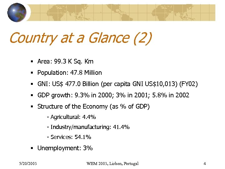 Country at a Glance (2) § Area: 99. 3 K Sq. Km § Population: