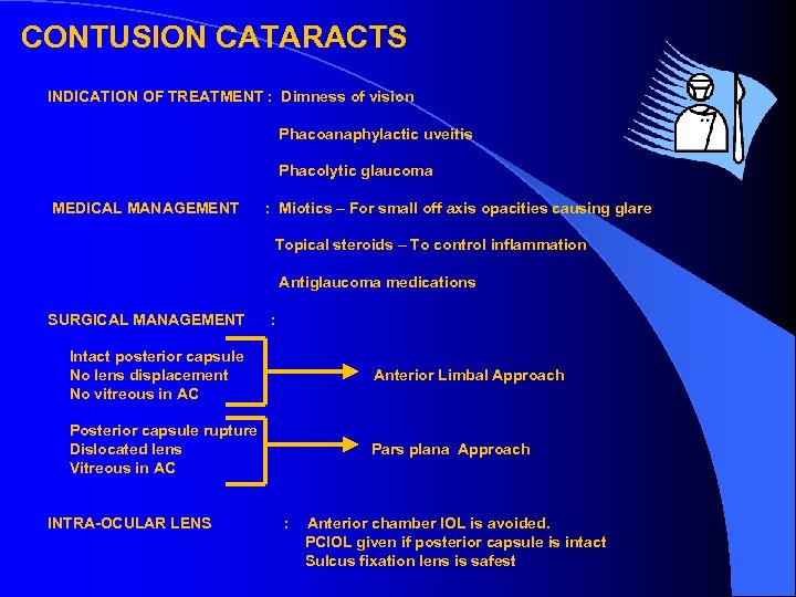 CONTUSION CATARACTS INDICATION OF TREATMENT : Dimness of vision Phacoanaphylactic uveitis Phacolytic glaucoma MEDICAL