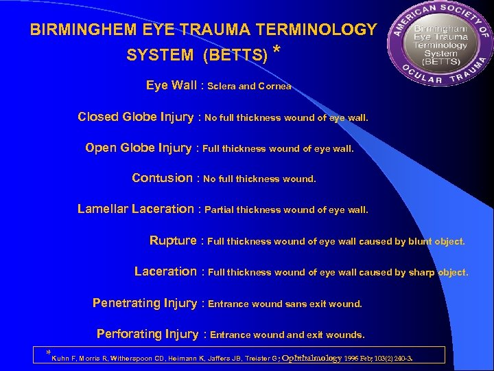 BIRMINGHEM EYE TRAUMA TERMINOLOGY SYSTEM (BETTS) * Eye Wall : Sclera and Cornea Closed