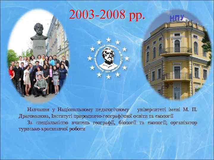 2003 -2008 рр. Навчання у Національному педагогічному університеті імені М. П. Драгоманова, Інституті природничо-географічної