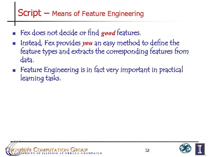 Script – n n n Means of Feature Engineering Fex does not decide or