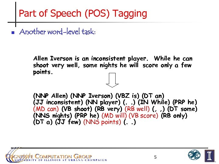 Part of Speech (POS) Tagging n Another word-level task: Allen Iverson is an inconsistent