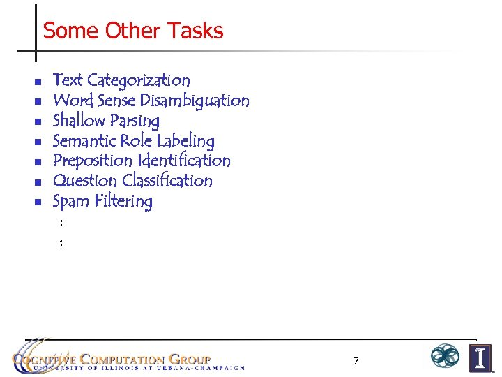 Some Other Tasks n n n n Text Categorization Word Sense Disambiguation Shallow Parsing