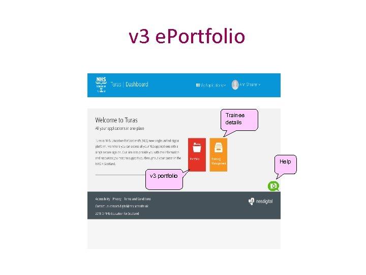 v 3 e. Portfolio Trainee details Help v 3 portfolio