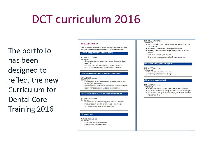 DCT curriculum 2016 The portfolio has been designed to reflect the new Curriculum for