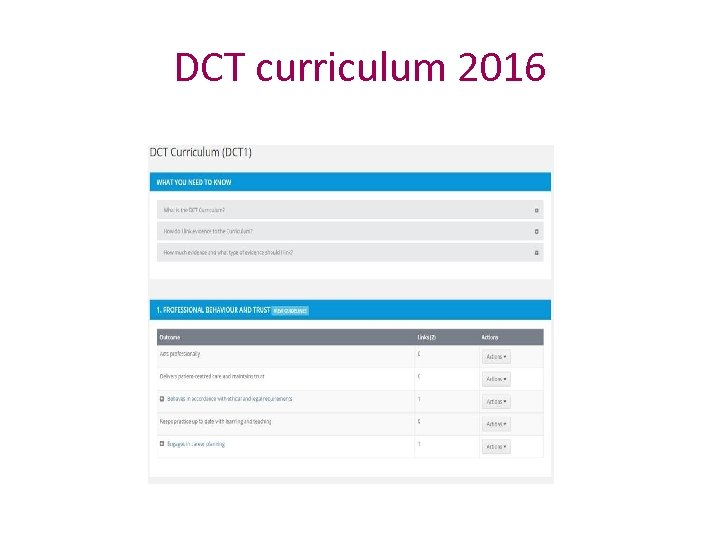 DCT curriculum 2016