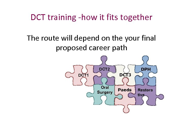DCT training -how it fits together The route will depend on the your final