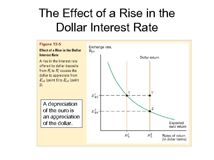 The Effect of a Rise in the Dollar Interest Rate A depreciation of the