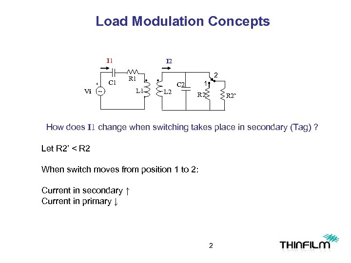 Load Modulation Concepts I 1 C 1 + Vi I 2 R 1 ~