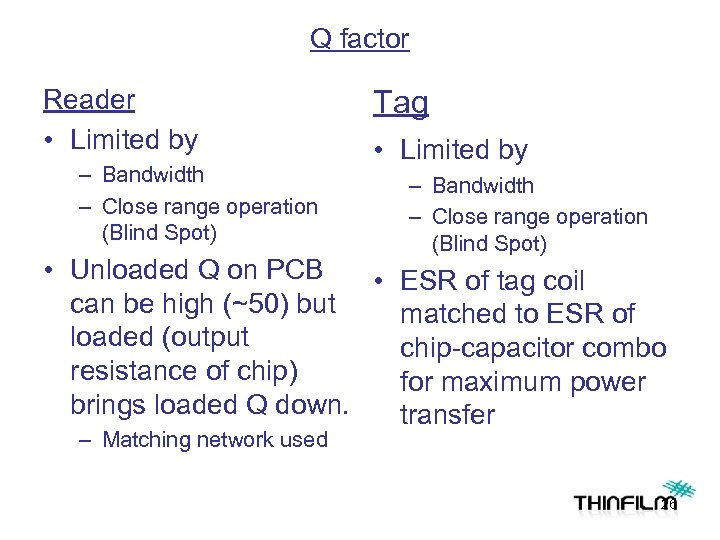 Q factor Reader • Limited by – Bandwidth – Close range operation (Blind Spot)