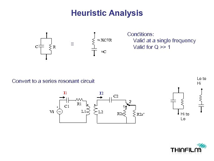 Heuristic Analysis C ≈ ≡ R Conditions: Valid at a single frequency Valid for