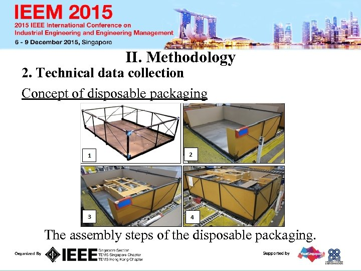 II. Methodology 2. Technical data collection Concept of disposable packaging The assembly steps of