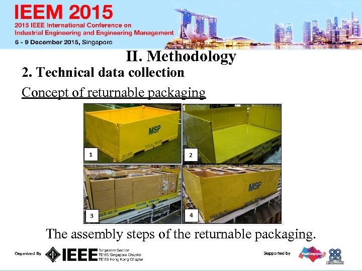 II. Methodology 2. Technical data collection Concept of returnable packaging The assembly steps of