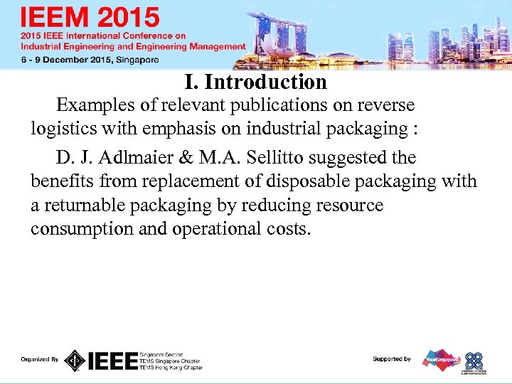 I. Introduction Examples of relevant publications on reverse logistics with emphasis on industrial packaging