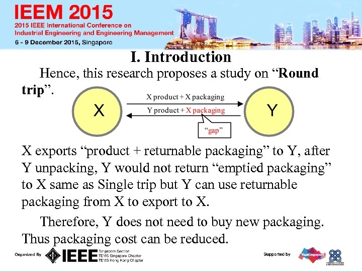 """I. Introduction Hence, this research proposes a study on """"Round trip"""". X exports """"product"""