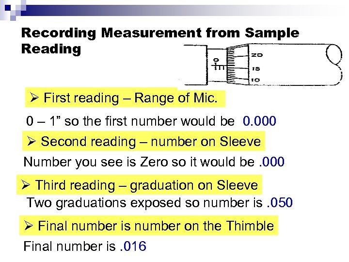 Recording Measurement from Sample Reading Ø First reading – Range of Mic. 0 –