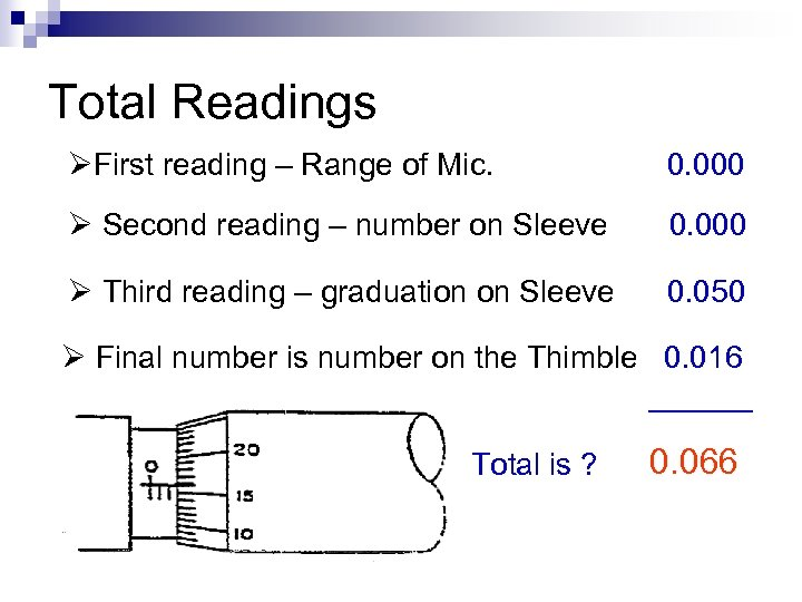 Total Readings ØFirst reading – Range of Mic. 0. 000 Ø Second reading –