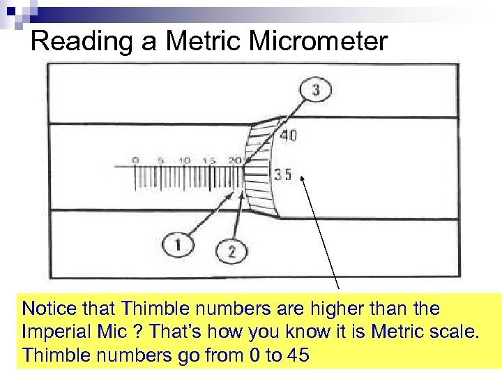 Reading a Metric Micrometer Notice that Thimble numbers are higher than the Imperial Mic