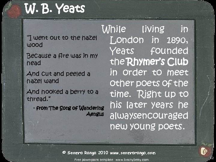 """W. B. Yeats While living in """"I went out to the hazel London in"""