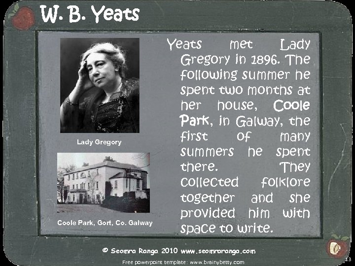 W. B. Yeats Lady Gregory Coole Park, Gort, Co. Galway Yeats met Lady Gregory